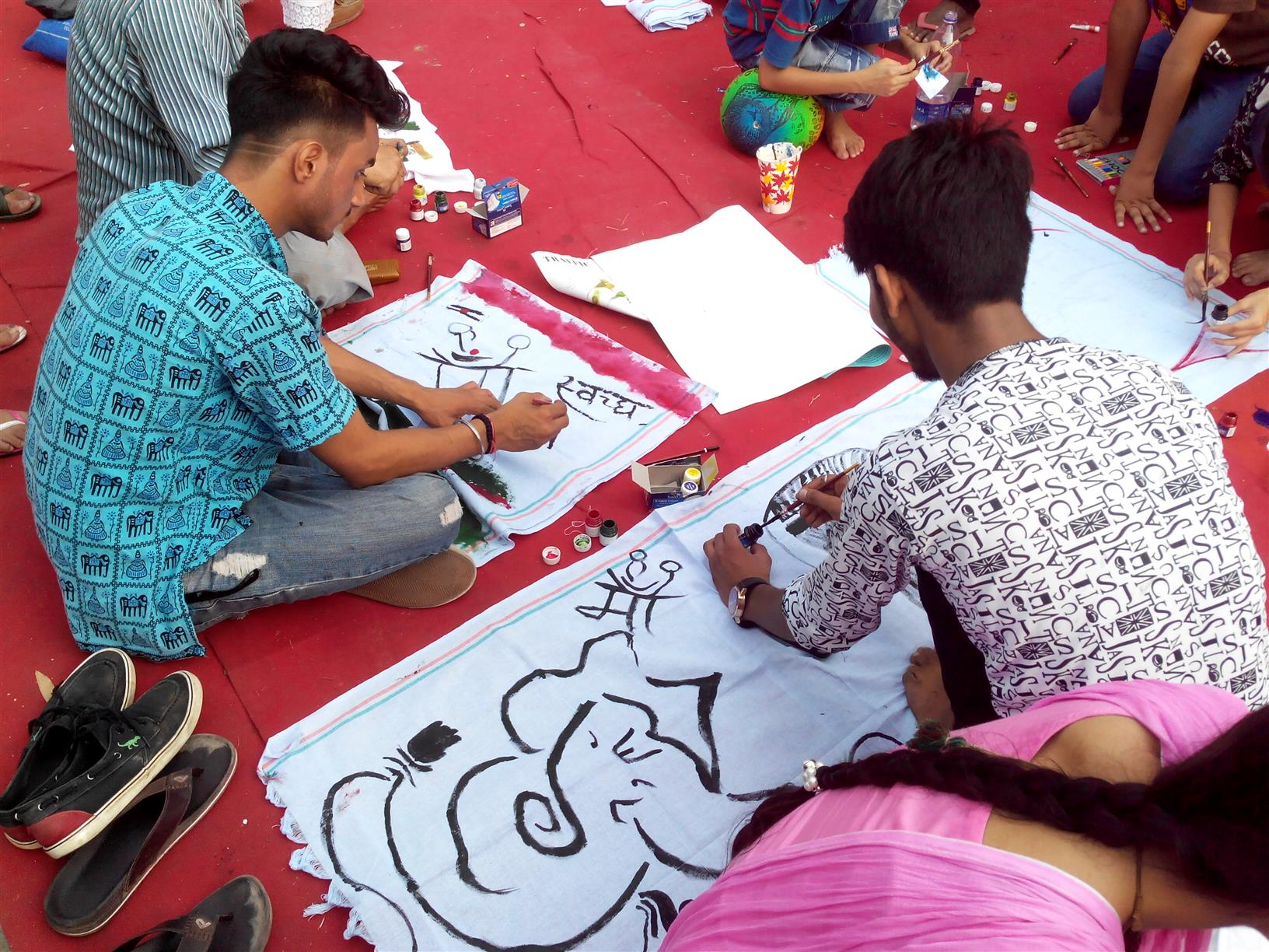 Children drawing on Environmental themes